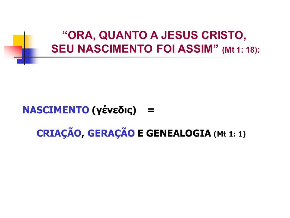 ORA, QUANTO A JESUS CRISTO, SEU NASCIMENTO FOI ASSIM (Mt 1: 18): NASCIMENTO (γένεδις) = CRIAÇÃO, GERAÇÃO E GENEALOGIA (Mt 1: 1)