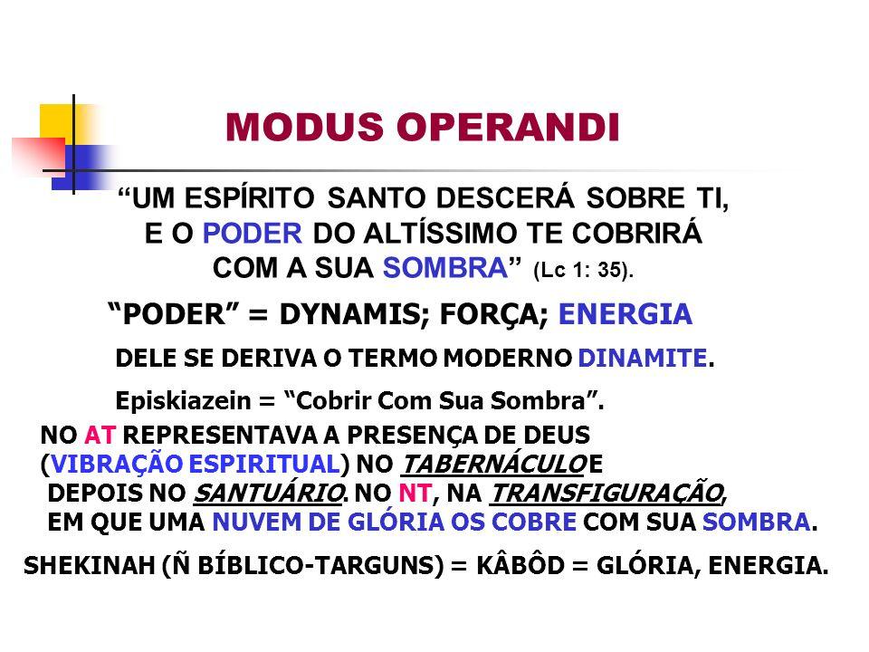 PODER = DYNAMIS; FORÇA; ENERGIA DELE SE DERIVA O TERMO MODERNO DINAMITE. Episkiazein = Cobrir Com Sua Sombra. NO AT REPRESENTAVA A PRESENÇA DE DEUS (V
