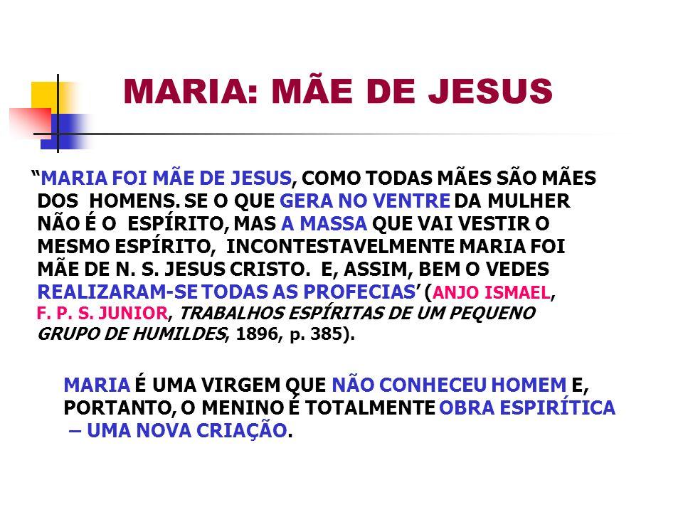 MARIA FOI MÃE DE JESUS, COMO TODAS MÃES SÃO MÃES DOS HOMENS. SE O QUE GERA NO VENTRE DA MULHER NÃO É O ESPÍRITO, MAS A MASSA QUE VAI VESTIR O MESMO ES