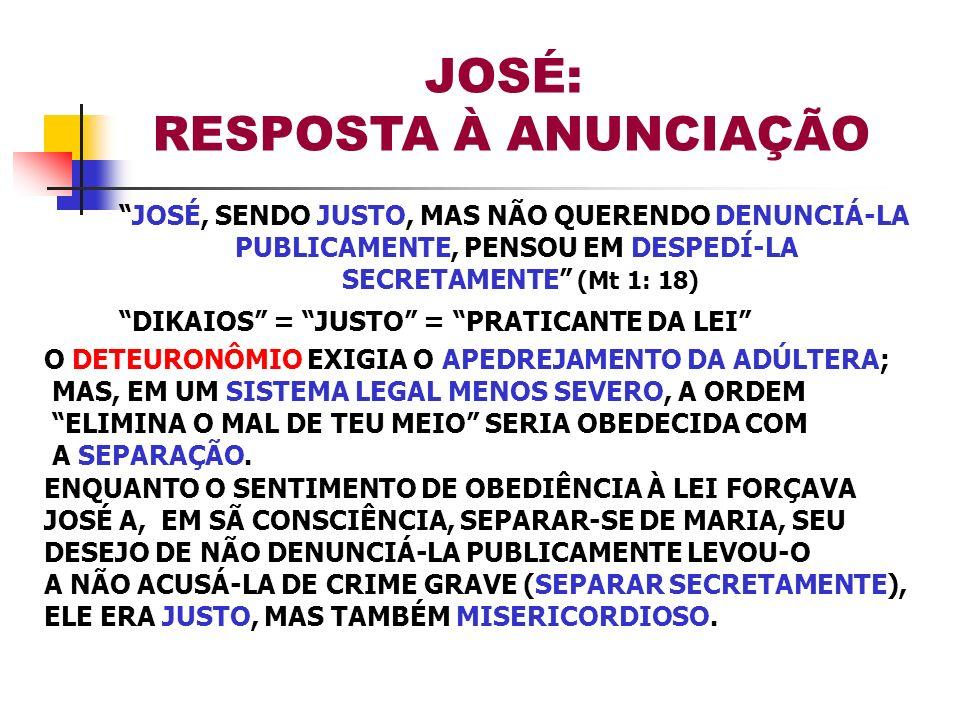 JOSÉ: RESPOSTA À ANUNCIAÇÃO JOSÉ, SENDO JUSTO, MAS NÃO QUERENDO DENUNCIÁ-LA PUBLICAMENTE, PENSOU EM DESPEDÍ-LA SECRETAMENTE (Mt 1: 18) DIKAIOS = JUSTO