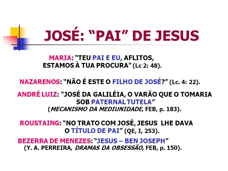 JOSÉ: PAI DE JESUS MARIA: TEU PAI E EU, AFLITOS, ESTAMOS À TUA PROCURA (Lc 2: 48). NAZARENOS: NÃO É ESTE O FILHO DE JOSÉ? (Lc. 4: 22). ANDRÉ LUIZ: JOS