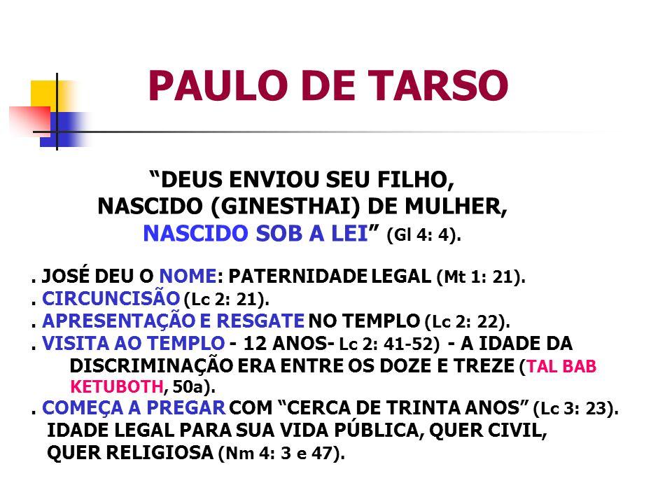 PAULO DE TARSO DEUS ENVIOU SEU FILHO, NASCIDO (GINESTHAI) DE MULHER, NASCIDO SOB A LEI (Gl 4: 4).. JOSÉ DEU O NOME: PATERNIDADE LEGAL (Mt 1: 21).. CIR