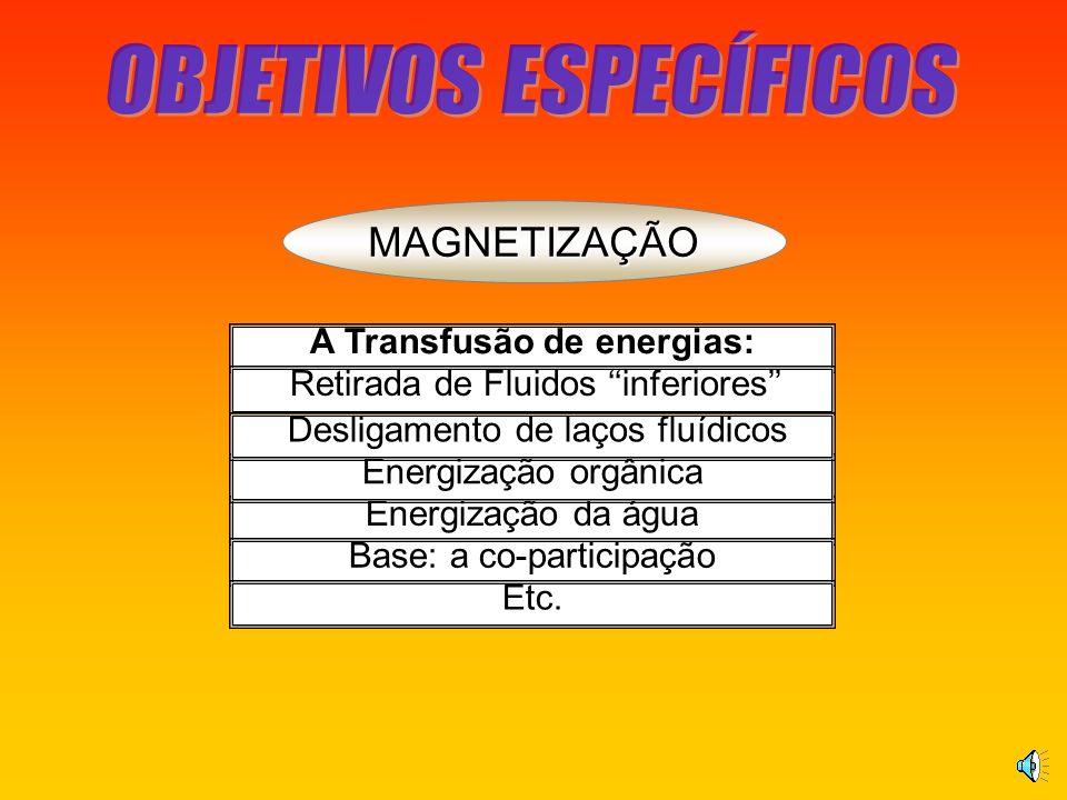 MAGNETIZAÇÃO A Transfusão de energias: Retirada de Fluidos inferiores Energização da água Energização orgânica Base: a co-participação Etc.
