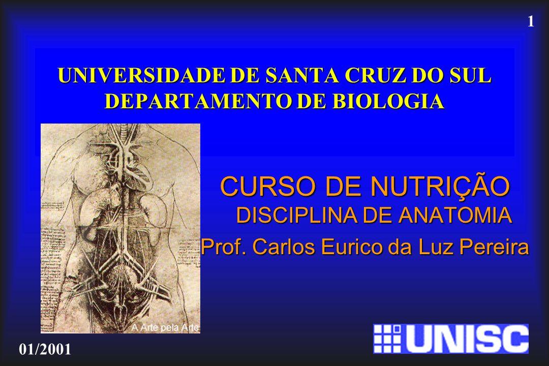 1 01/2001 UNIVERSIDADE DE SANTA CRUZ DO SUL DEPARTAMENTO DE BIOLOGIA CURSO DE NUTRIÇÃO DISCIPLINA DE ANATOMIA Prof. Carlos Eurico da Luz Pereira