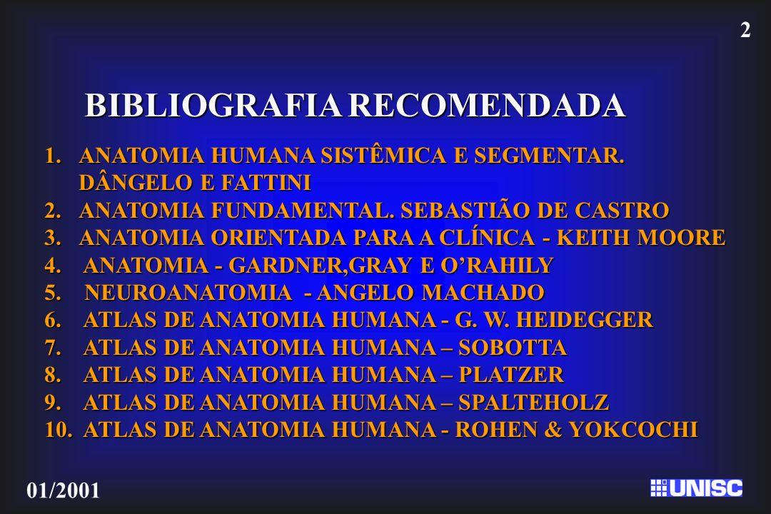 2 01/2001 BIBLIOGRAFIA RECOMENDADA 1.ANATOMIA HUMANA SISTÊMICA E SEGMENTAR. DÂNGELO E FATTINI 2.ANATOMIA FUNDAMENTAL. SEBASTIÃO DE CASTRO 3.ANATOMIA O