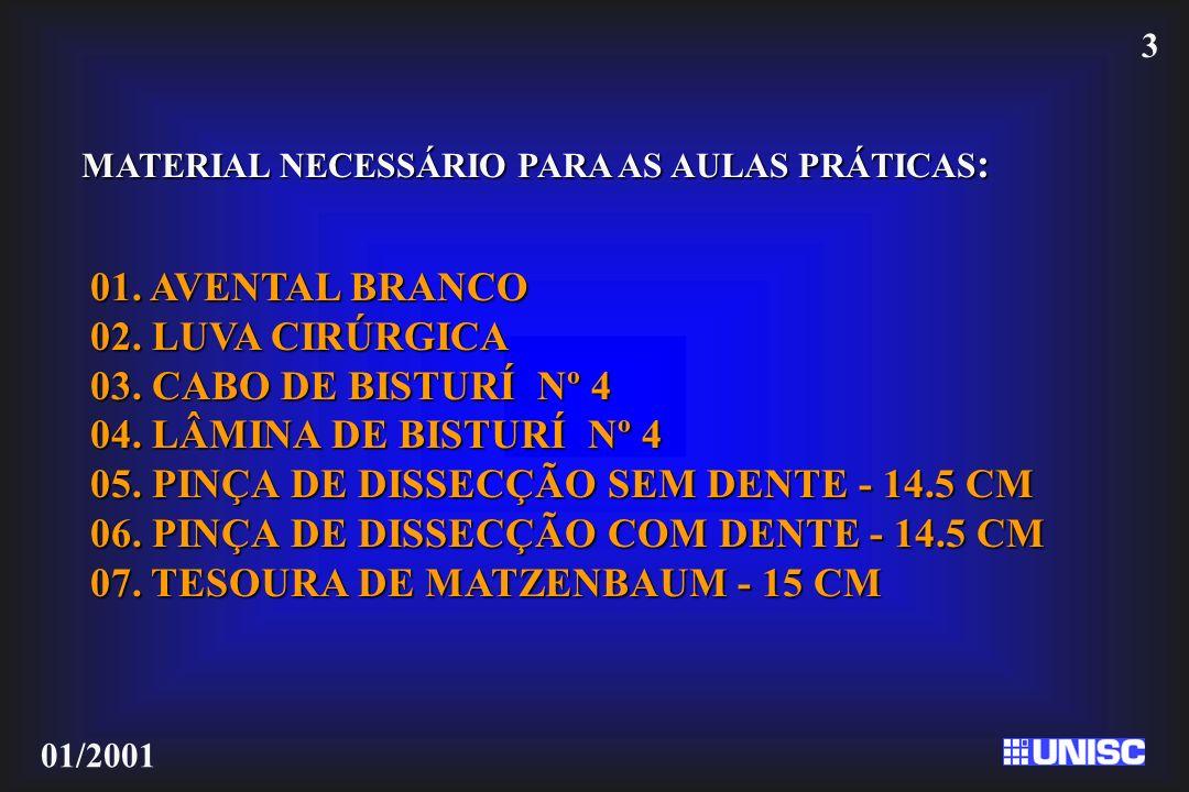 3 01/2001 MATERIAL NECESSÁRIO PARA AS AULAS PRÁTICAS : 01. AVENTAL BRANCO 02. LUVA CIRÚRGICA 03. CABO DE BISTURÍ Nº 4 04. LÂMINA DE BISTURÍ Nº 4 05. P