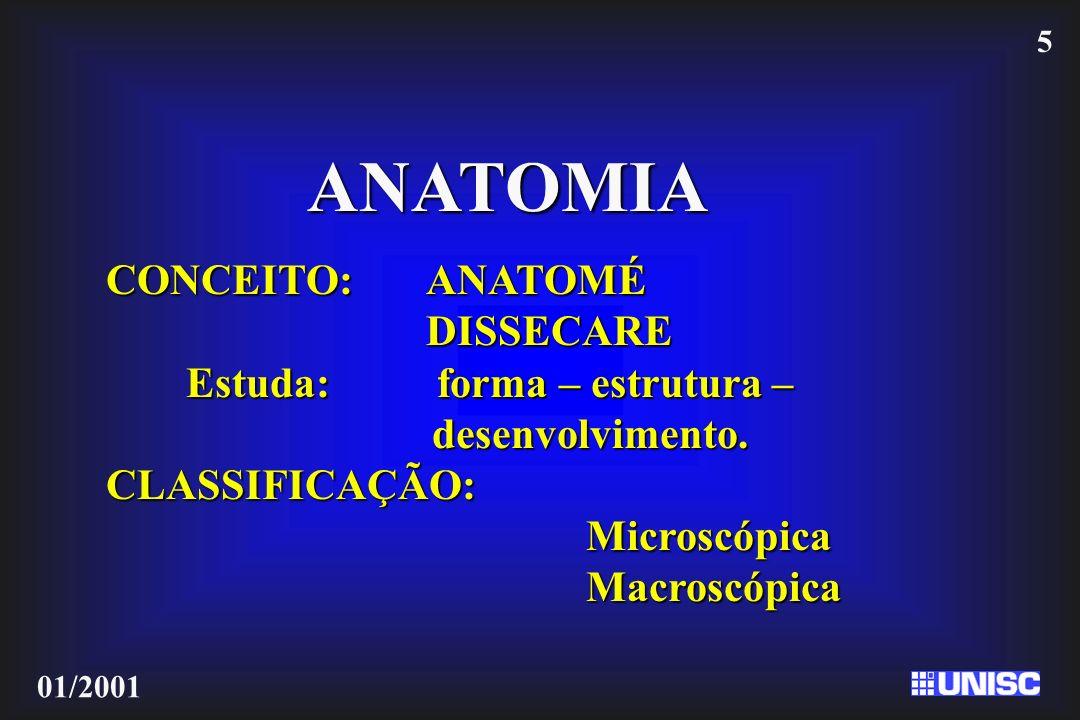 5 01/2001 ANATOMIA CONCEITO:ANATOMÉ DISSECARE Estuda: forma – estrutura – desenvolvimento. desenvolvimento.CLASSIFICAÇÃO:MicroscópicaMacroscópica