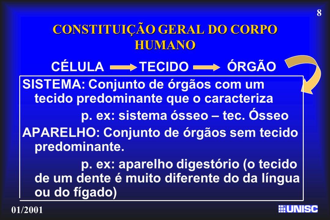 8 01/2001 CONSTITUIÇÃO GERAL DO CORPO HUMANO CÉLULA TECIDOÓRGÃO SISTEMA: Conjunto de órgãos com um tecido predominante que o caracteriza p. ex: sistem