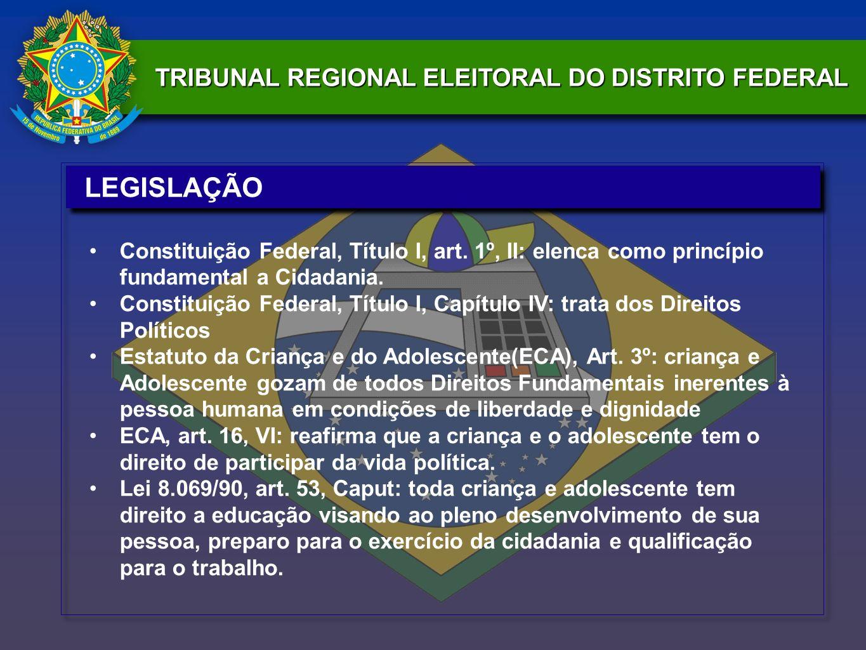 TRIBUNAL REGIONAL ELEITORAL DO DISTRITO FEDERAL LEGISLAÇÃO Constituição Federal, Título I, art. 1º, II: elenca como princípio fundamental a Cidadania.