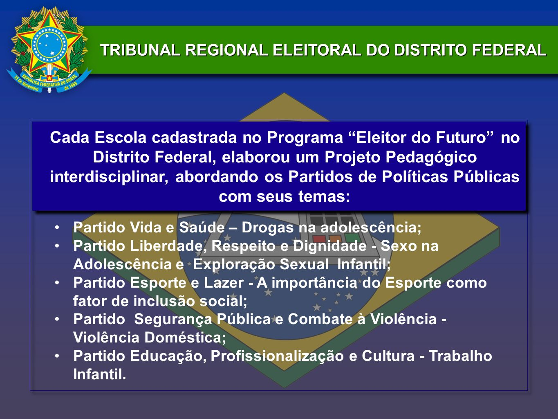 TRIBUNAL REGIONAL ELEITORAL DO DISTRITO FEDERAL Cada Escola cadastrada no Programa Eleitor do Futuro no Distrito Federal, elaborou um Projeto Pedagógi