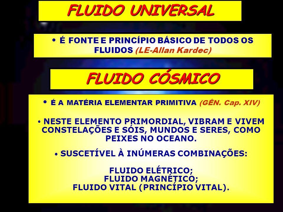 É FONTE E PRINCÍPIO BÁSICO DE TODOS OS FLUIDOS (LE-Allan Kardec) FLUIDO UNIVERSAL FLUIDO CÓSMICO É A MATÉRIA ELEMENTAR PRIMITIVA (GÊN. Cap. XIV) NESTE