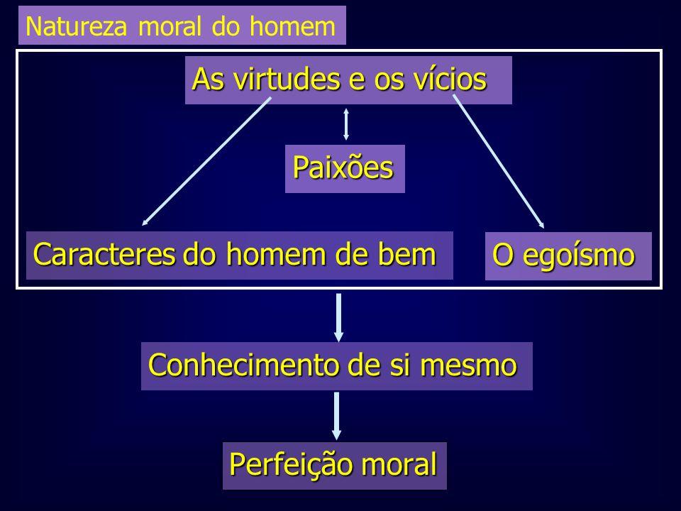 Perfeição moral Conhecimento de si mesmo Caracteres do homem de bem O egoísmo Paixões As virtudes e os vícios Natureza moral do homem
