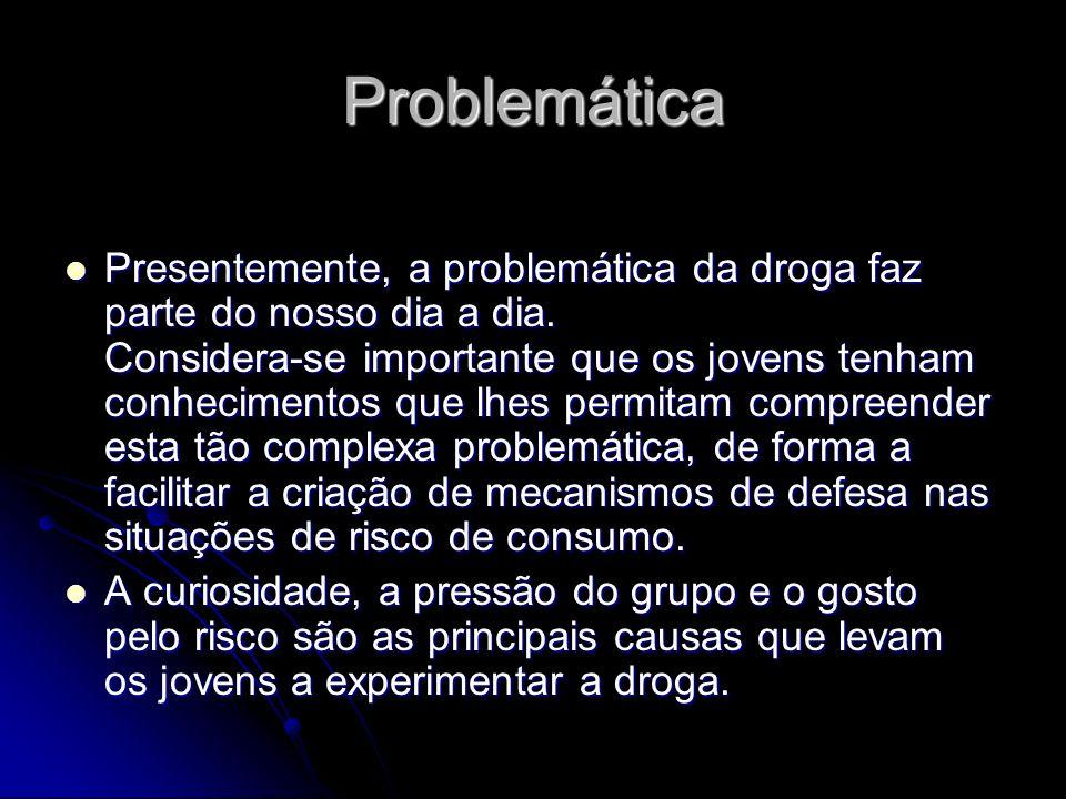 Problemática Presentemente, a problemática da droga faz parte do nosso dia a dia. Considera-se importante que os jovens tenham conhecimentos que lhes
