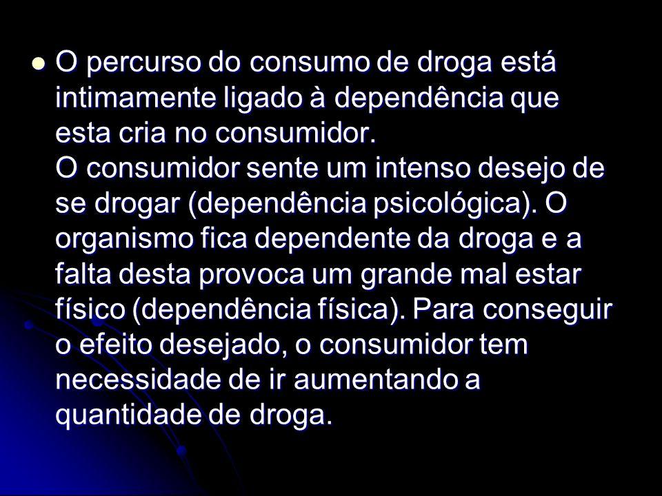 O percurso do consumo de droga está intimamente ligado à dependência que esta cria no consumidor. O consumidor sente um intenso desejo de se drogar (d