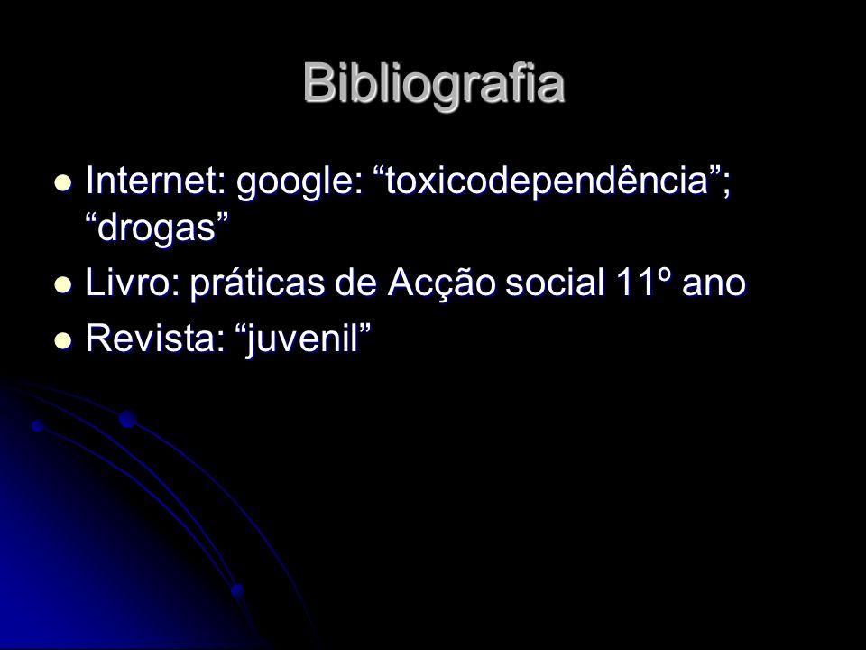 Bibliografia Internet: google: toxicodependência; drogas Internet: google: toxicodependência; drogas Livro: práticas de Acção social 11º ano Livro: pr