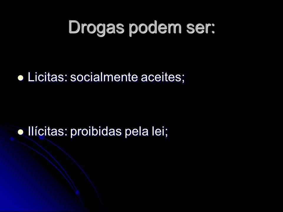 Drogas podem ser: Licitas: socialmente aceites; Licitas: socialmente aceites; Ilícitas: proibidas pela lei; Ilícitas: proibidas pela lei;