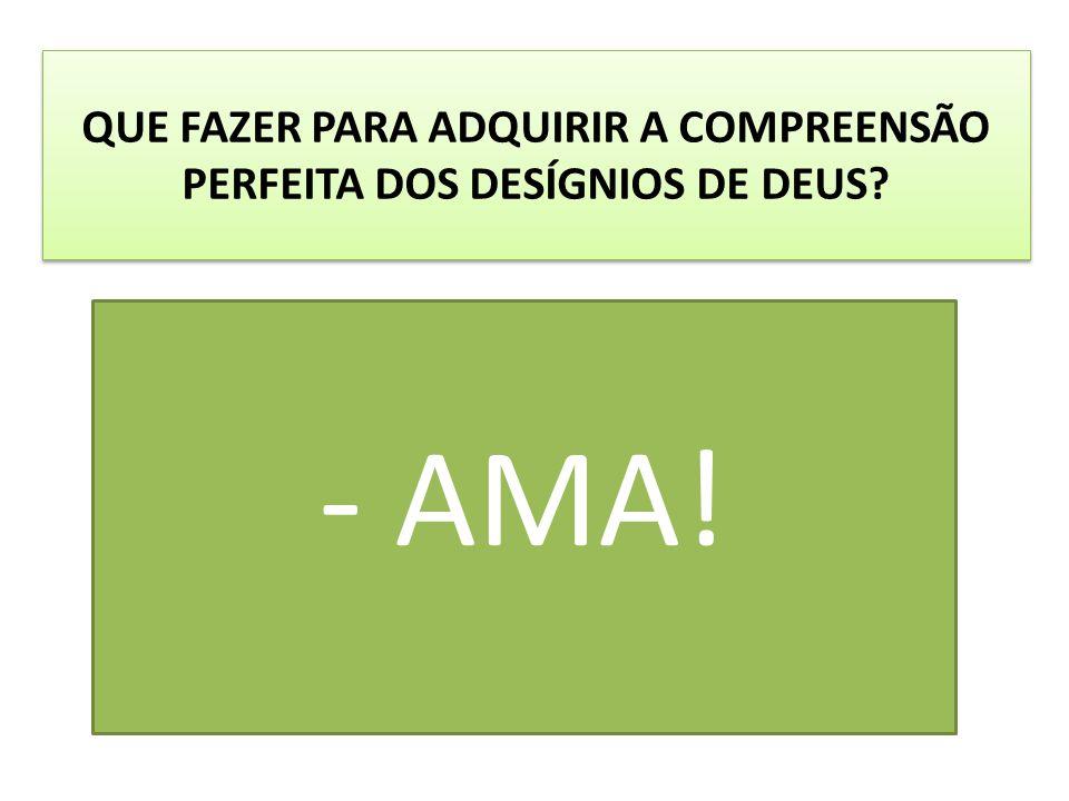 QUE FAZER PARA ADQUIRIR A COMPREENSÃO PERFEITA DOS DESÍGNIOS DE DEUS? - AMA!