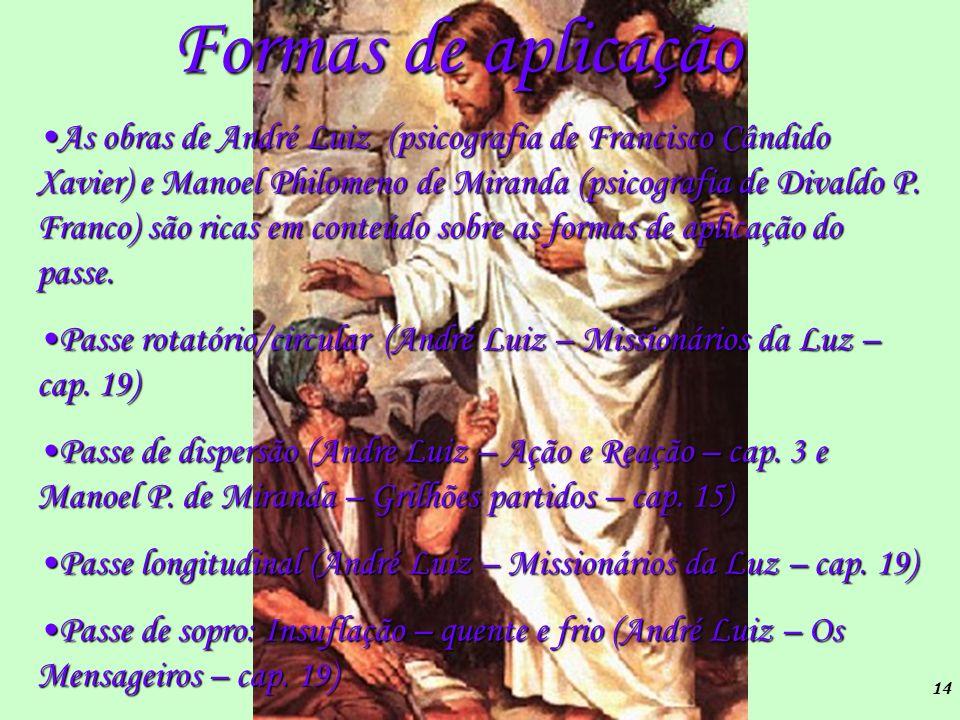 14 Formas de aplicação As obras de André Luiz (psicografia de Francisco Cândido Xavier) e Manoel Philomeno de Miranda (psicografia de Divaldo P. Franc