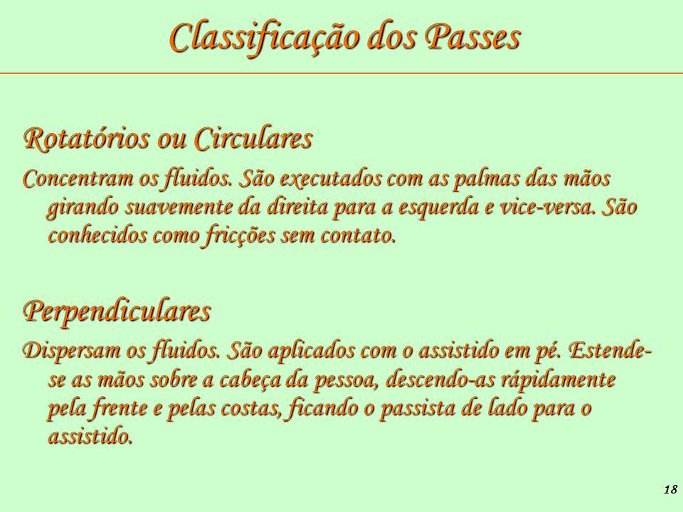 18 Classificação dos Passes Rotatórios ou Circulares Concentram os fluidos. São executados com as palmas das mãos girando suavemente da direita para a