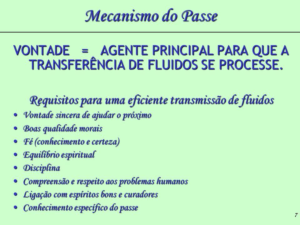 7 Mecanismo do Passe VONTADE = AGENTE PRINCIPAL PARA QUE A TRANSFERÊNCIA DE FLUIDOS SE PROCESSE. Requisitos para uma eficiente transmissão de fluidos