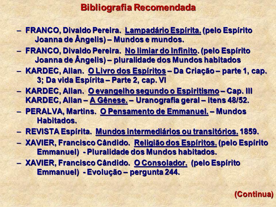 Bibliografia Recomendada –FRANCO, Divaldo Pereira. Lampadário Espírita. (pelo Espírito Joanna de Ângelis) – Mundos e mundos. –FRANCO, Divaldo Pereira.