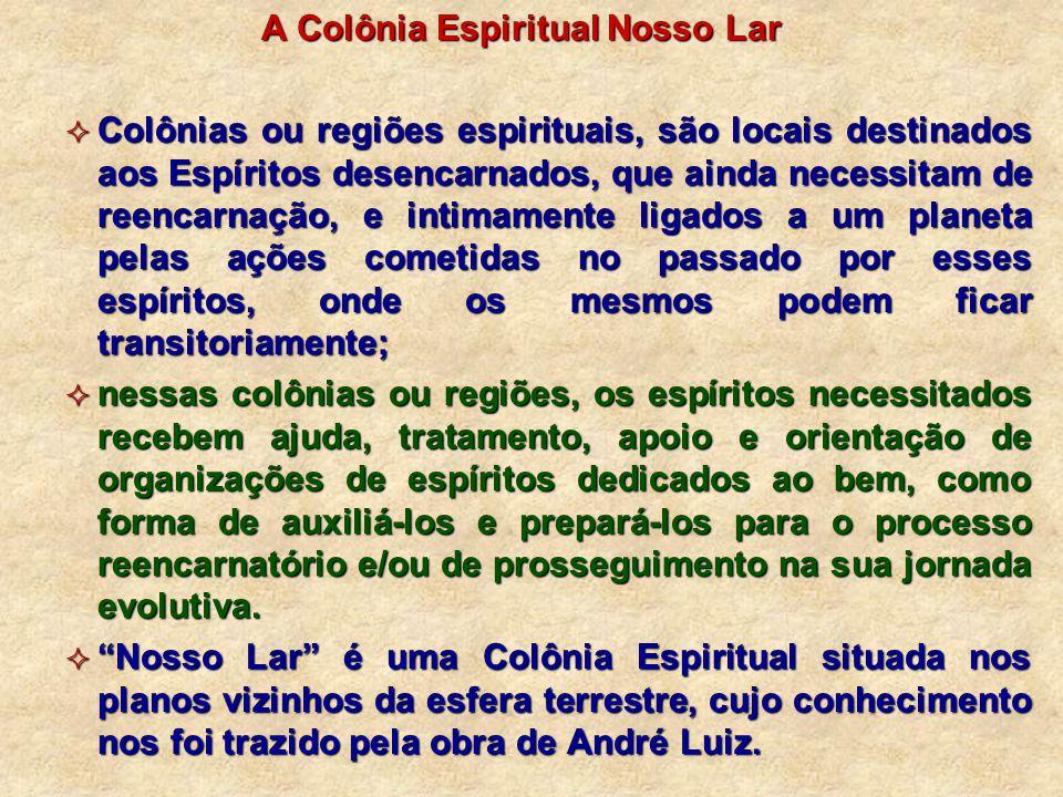 A Colônia Espiritual Nosso Lar Colônias ou regiões espirituais, são locais destinados aos Espíritos desencarnados, que ainda necessitam de reencarnaçã
