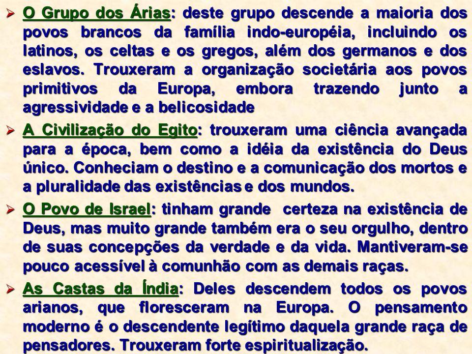 O Grupo dos Árias: deste grupo descende a maioria dos povos brancos da família indo-européia, incluindo os latinos, os celtas e os gregos, além dos ge