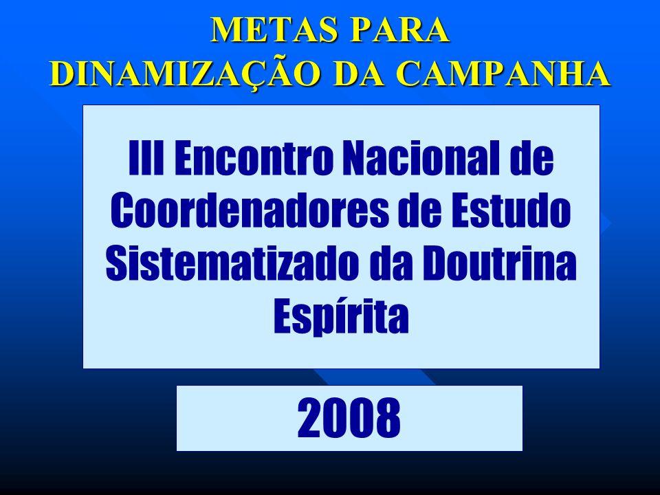 METAS PARA DINAMIZAÇÃO DA CAMPANHA III Encontro Nacional de Coordenadores de Estudo Sistematizado da Doutrina Espírita 2008