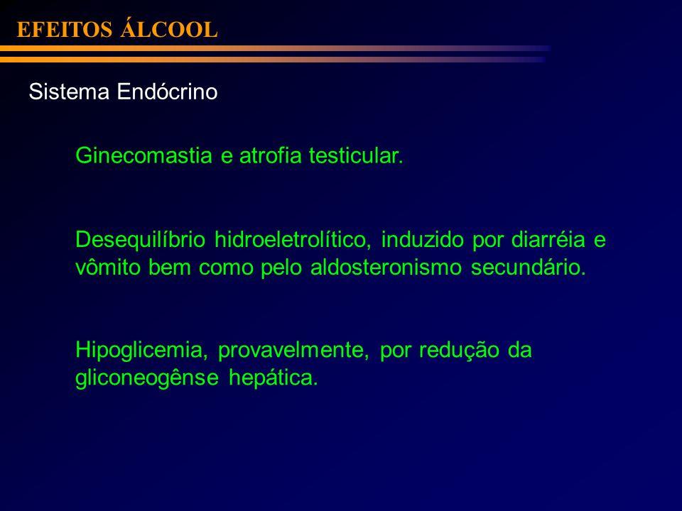 EFEITOS ÁLCOOL Sistema Endócrino Ginecomastia e atrofia testicular. Desequilíbrio hidroeletrolítico, induzido por diarréia e vômito bem como pelo aldo