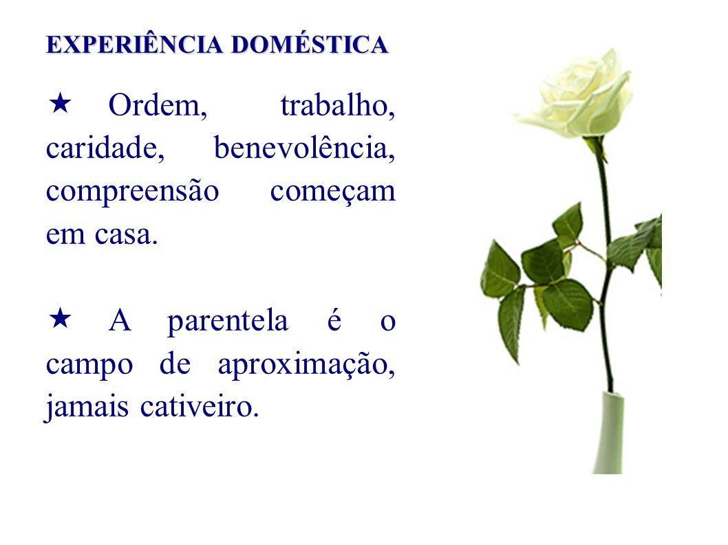 EXPERIÊNCIA DOMÉSTICA Ordem, trabalho, caridade, benevolência, compreensão começam em casa.