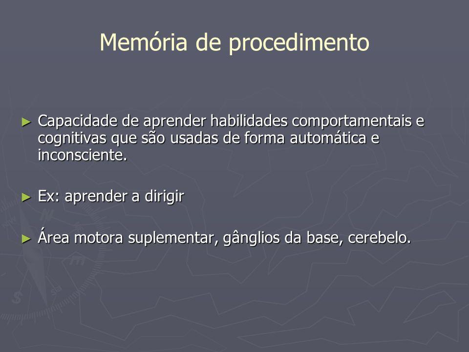 Memória de procedimento Capacidade de aprender habilidades comportamentais e cognitivas que são usadas de forma automática e inconsciente. Capacidade