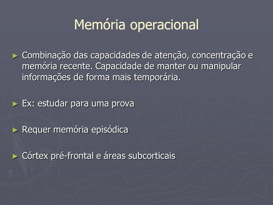 Memória operacional Combinação das capacidades de atenção, concentração e memória recente. Capacidade de manter ou manipular informações de forma mais
