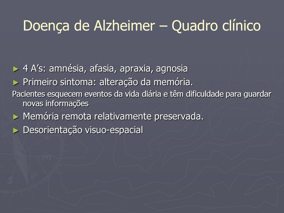Doença de Alzheimer – Quadro clínico 4 As: amnésia, afasia, apraxia, agnosia 4 As: amnésia, afasia, apraxia, agnosia Primeiro sintoma: alteração da me