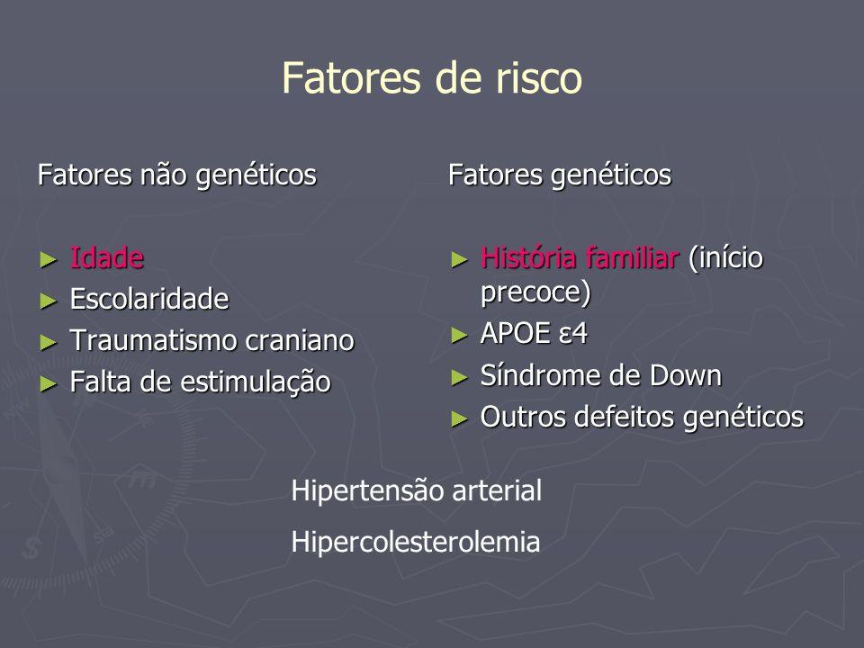 Fatores de risco Fatores não genéticos Idade Idade Escolaridade Escolaridade Traumatismo craniano Traumatismo craniano Falta de estimulação Falta de e