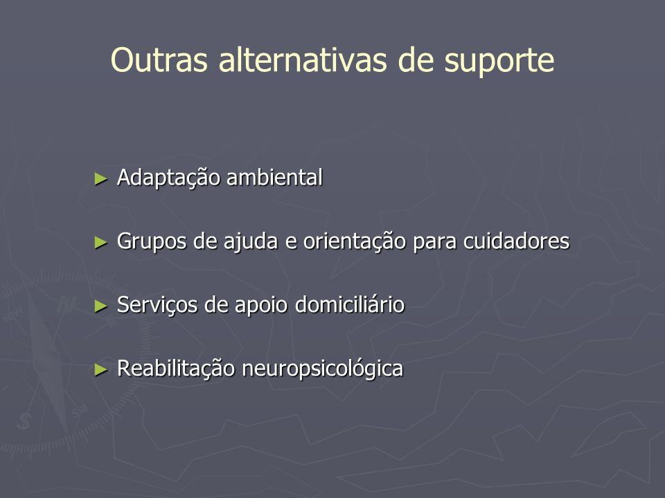 Outras alternativas de suporte Adaptação ambiental Adaptação ambiental Grupos de ajuda e orientação para cuidadores Grupos de ajuda e orientação para