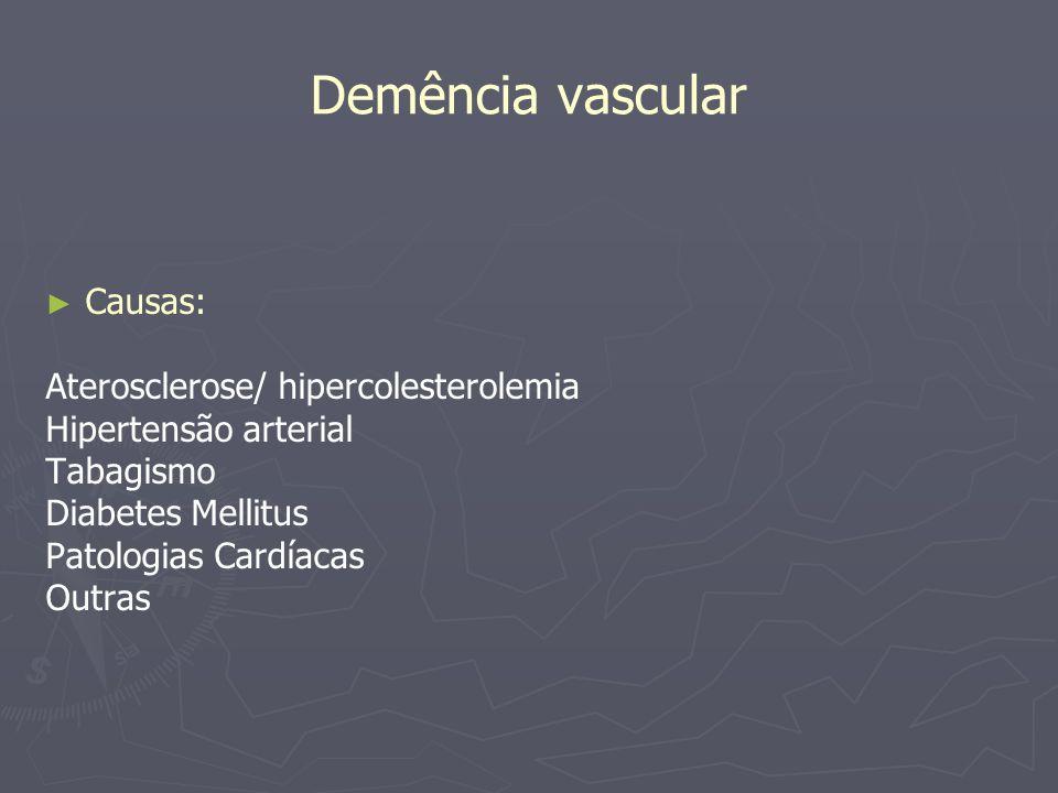 Demência vascular Causas: Aterosclerose/ hipercolesterolemia Hipertensão arterial Tabagismo Diabetes Mellitus Patologias Cardíacas Outras