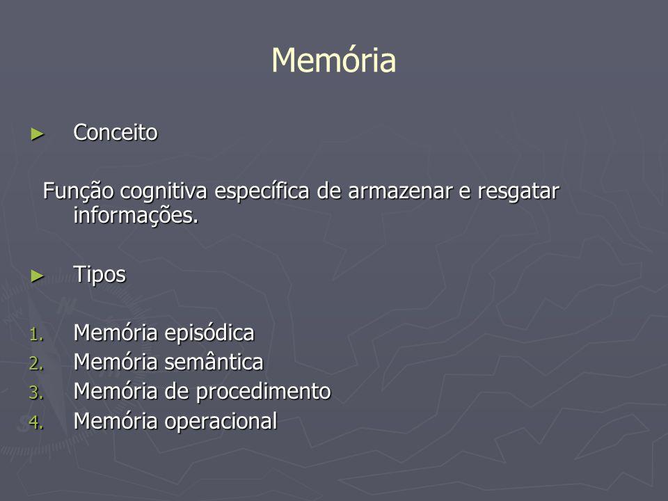 Memória Conceito Conceito Função cognitiva específica de armazenar e resgatar informações. Função cognitiva específica de armazenar e resgatar informa