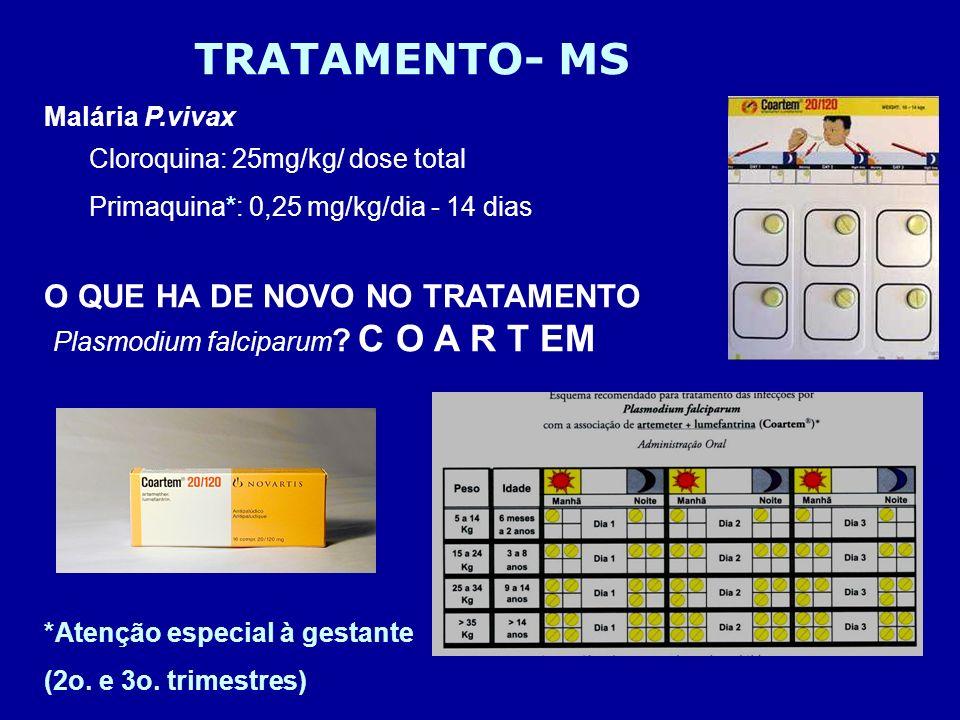 TRATAMENTO- MS Malária P.vivax Cloroquina: 25mg/kg/ dose total Primaquina*: 0,25 mg/kg/dia - 14 dias O QUE HA DE NOVO NO TRATAMENTO Plasmodium falcipa