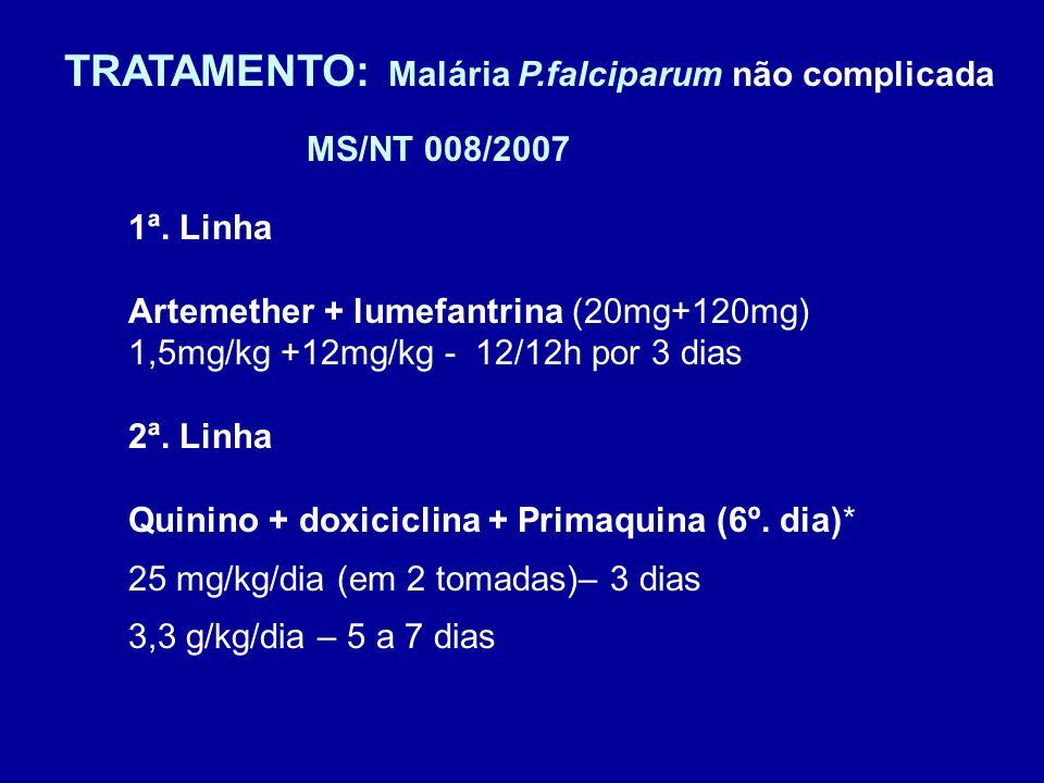 TRATAMENTO: Malária P.falciparum não complicada 1ª. Linha Artemether + lumefantrina (20mg+120mg) 1,5mg/kg +12mg/kg - 12/12h por 3 dias 2ª. Linha Quini