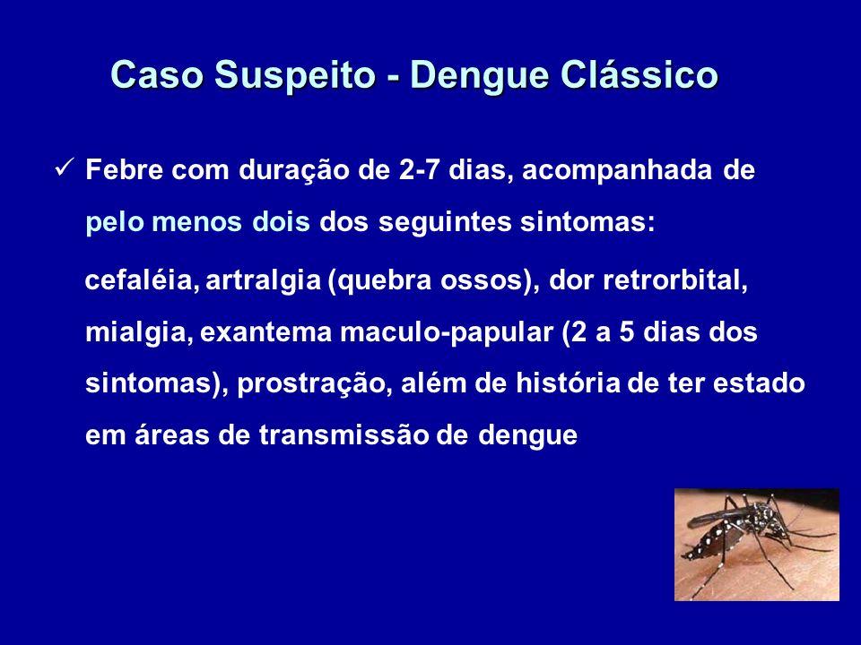 Caso Suspeito - Dengue Clássico Febre com duração de 2-7 dias, acompanhada de pelo menos dois dos seguintes sintomas: cefaléia, artralgia (quebra osso