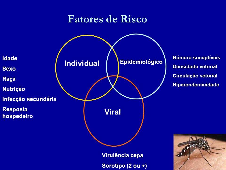 Fatores de Risco Individual Epidemiológico Viral Idade Sexo Raça Nutrição Infecção secundária Resposta hospedeiro Número suceptíveis Densidade vetoria