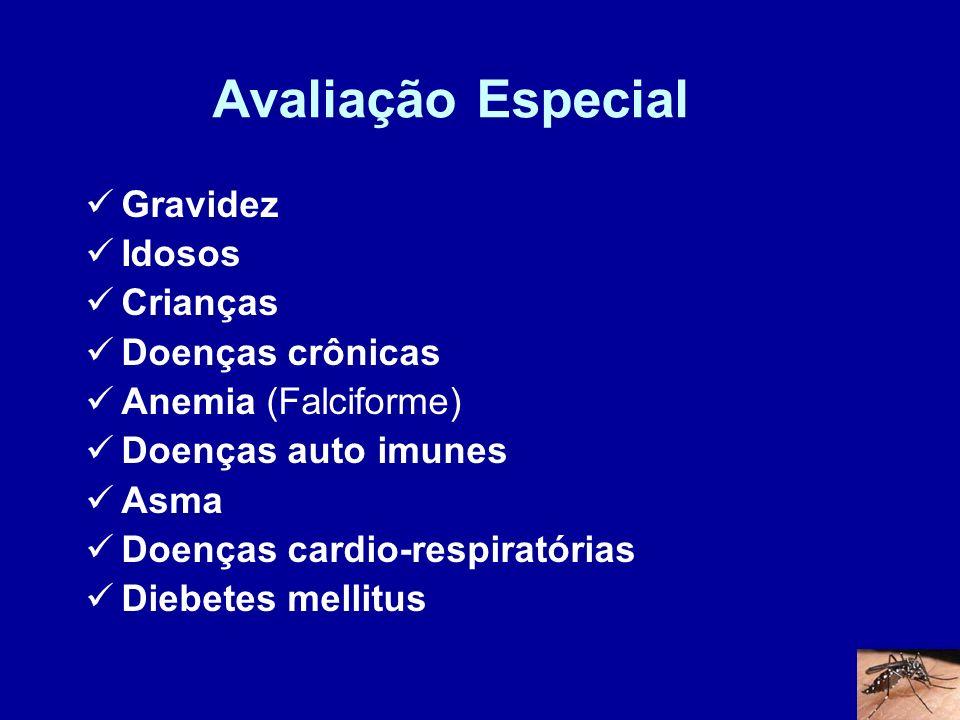Avaliação Especial Gravidez Idosos Crianças Doenças crônicas Anemia (Falciforme) Doenças auto imunes Asma Doenças cardio-respiratórias Diebetes mellit