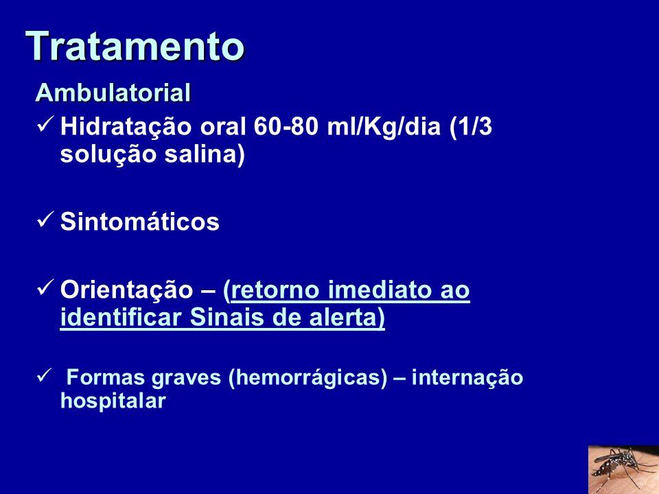 Tratamento Ambulatorial Hidratação oral 60-80 ml/Kg/dia (1/3 solução salina) Sintomáticos Orientação – (retorno imediato ao identificar Sinais de aler
