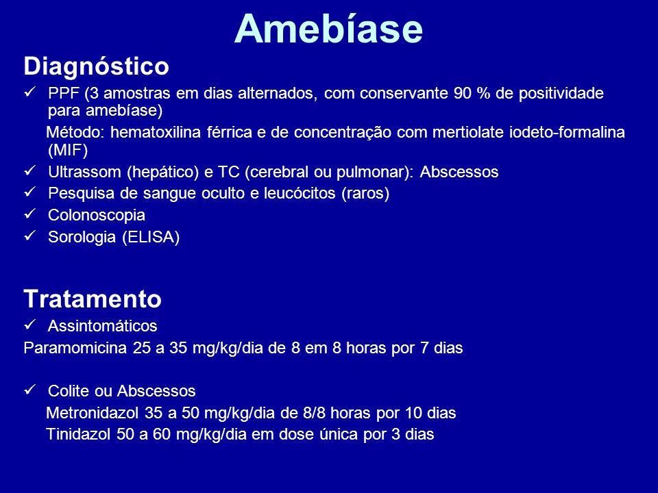 Amebíase Diagnóstico PPF (3 amostras em dias alternados, com conservante 90 % de positividade para amebíase) Método: hematoxilina férrica e de concent