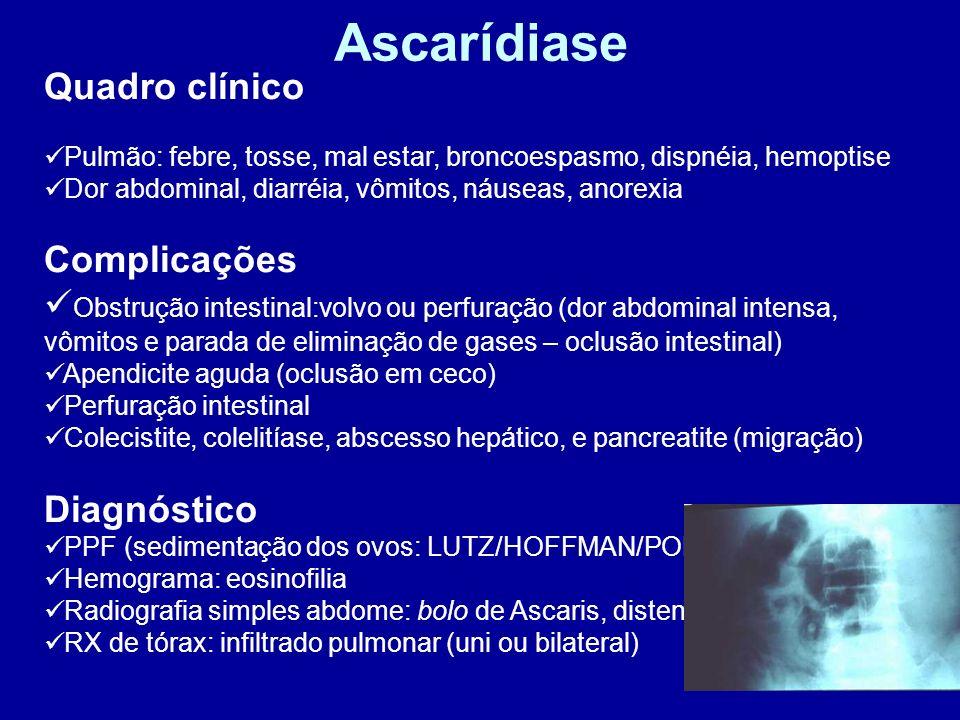 Ascarídiase Quadro clínico Pulmão: febre, tosse, mal estar, broncoespasmo, dispnéia, hemoptise Dor abdominal, diarréia, vômitos, náuseas, anorexia Com