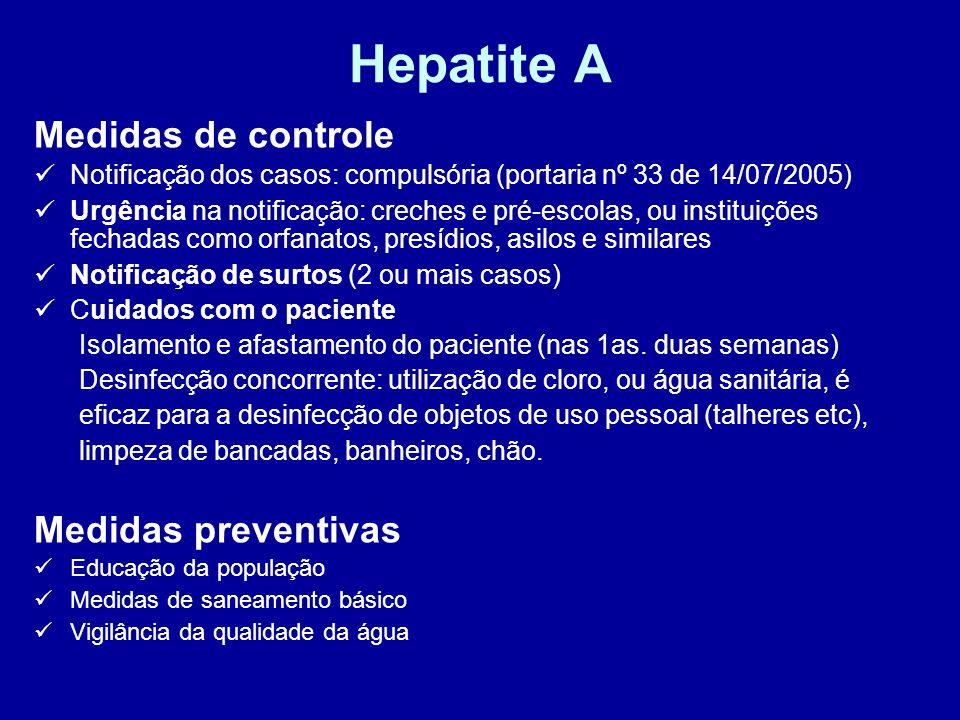 Hepatite A Medidas de controle Notificação dos casos: compulsória (portaria nº 33 de 14/07/2005) Urgência na notificação: creches e pré-escolas, ou in