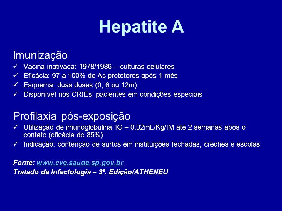 Hepatite A Imunização Vacina inativada: 1978/1986 – culturas celulares Eficácia: 97 a 100% de Ac protetores após 1 mês Esquema: duas doses (0, 6 ou 12