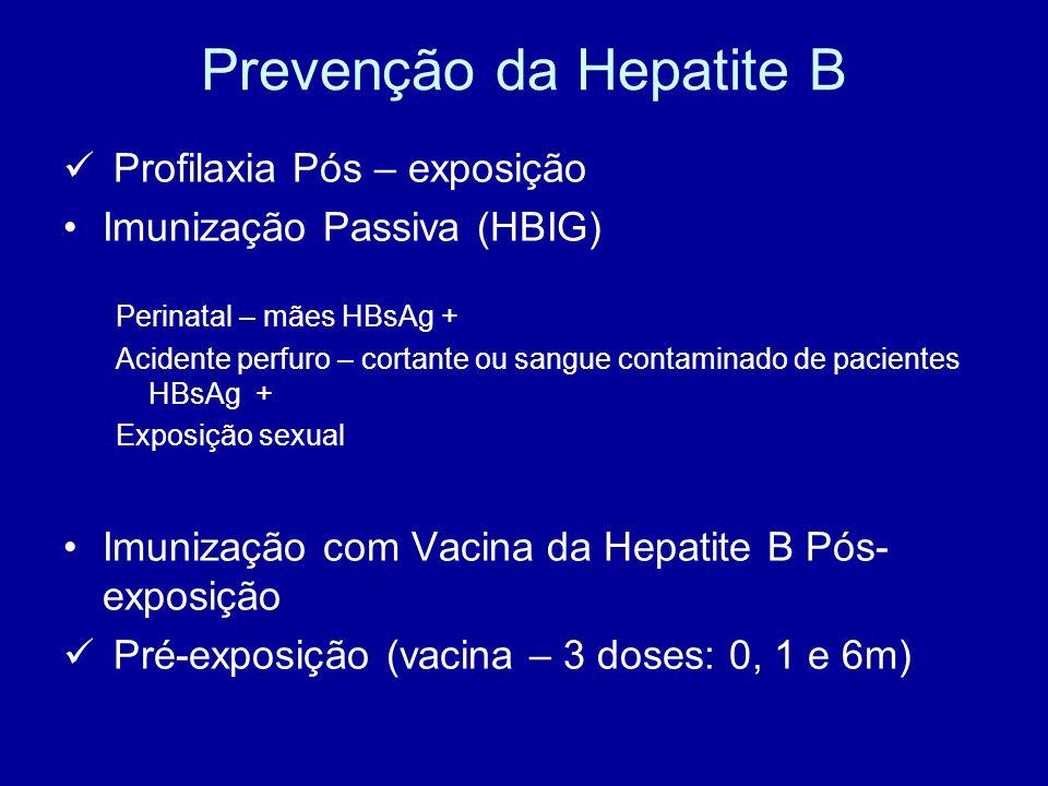 Prevenção da Hepatite B Profilaxia Pós – exposição Imunização Passiva (HBIG) Perinatal – mães HBsAg + Acidente perfuro – cortante ou sangue contaminad