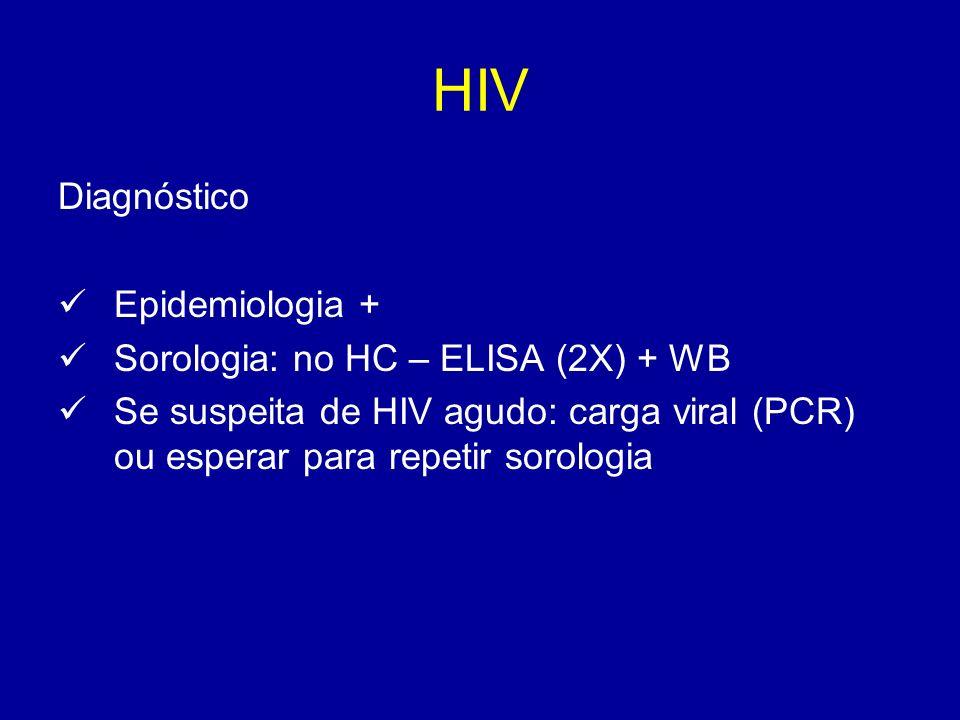 Diagnóstico Epidemiologia + Sorologia: no HC – ELISA (2X) + WB Se suspeita de HIV agudo: carga viral (PCR) ou esperar para repetir sorologia
