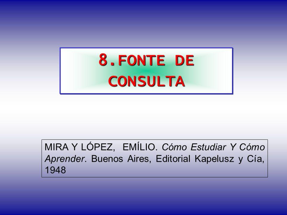 8.FONTE DE CONSULTA MIRA Y LÓPEZ, EMÍLIO. Cómo Estudiar Y Cómo Aprender. Buenos Aires, Editorial Kapelusz y Cía, 1948